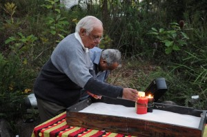 Uncle Nurdon lighting the first candle
